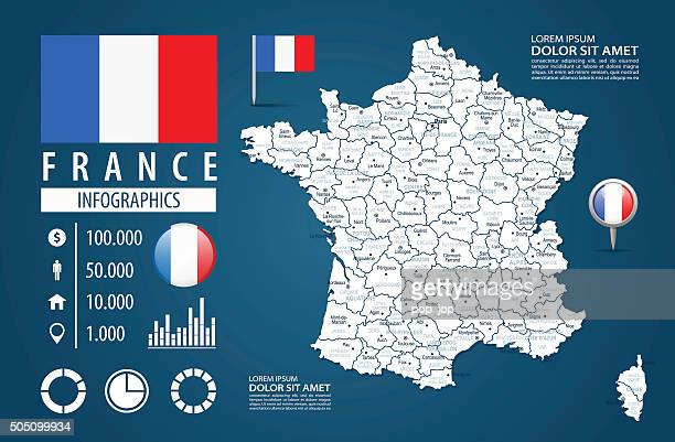 france - infographic map - illustration - aquitaine stock illustrations, clip art, cartoons, & icons
