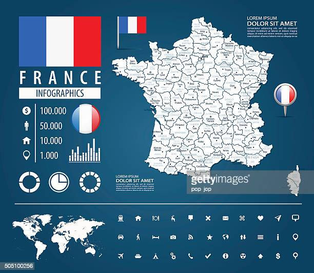 france - infographic map - illustration - toulouse stock illustrations, clip art, cartoons, & icons