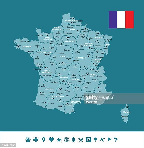 france infographic map - nice france stock illustrations, clip art, cartoons, & icons