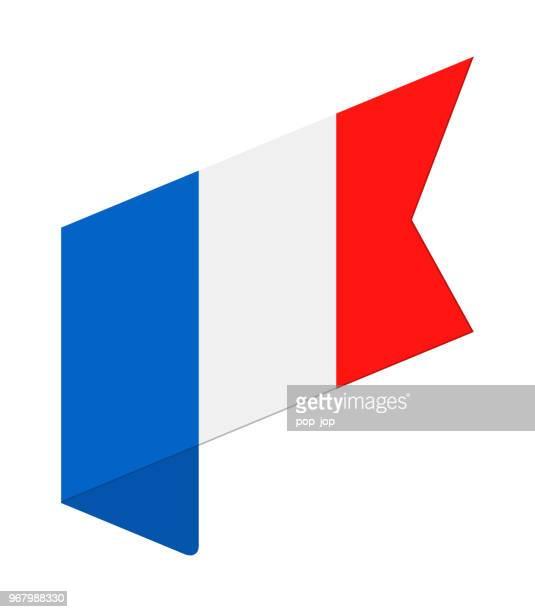 illustrations, cliparts, dessins animés et icônes de france - label isométrique drapeau vector icon plat - drapeau français