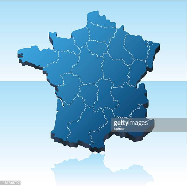 france map 3d - brittany france stock illustrations, clip art, cartoons, & icons