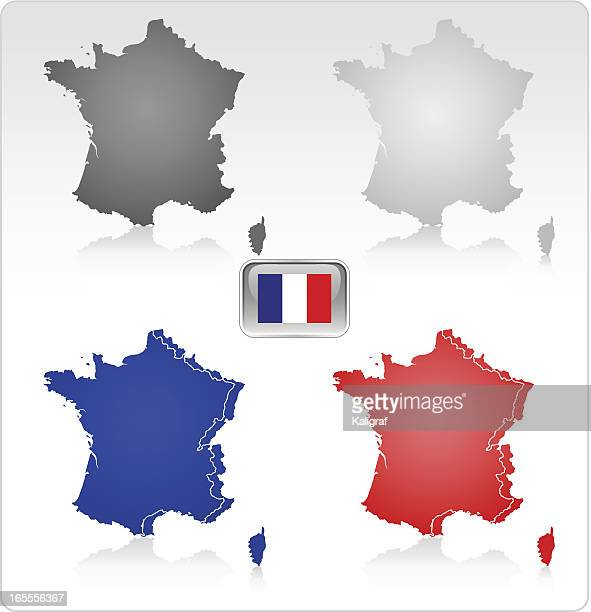france map and flag (see description) - corsica stock illustrations, clip art, cartoons, & icons
