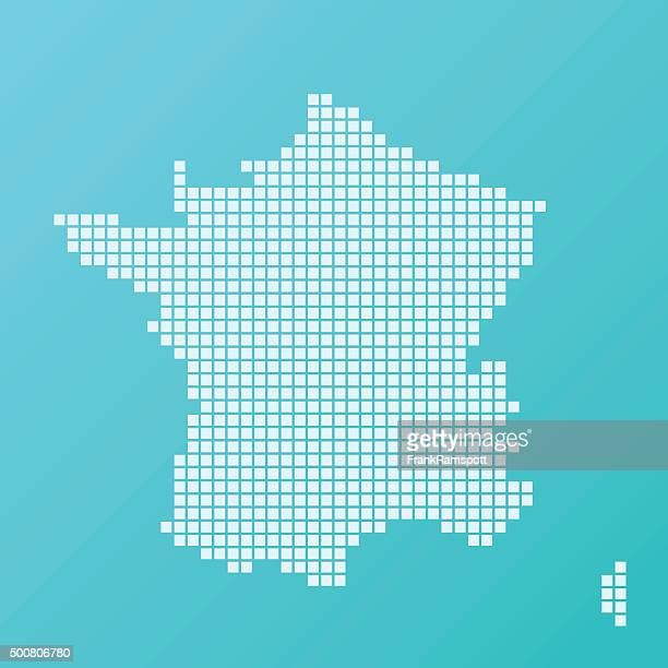 France Map Basic Square Pattern Turquoise