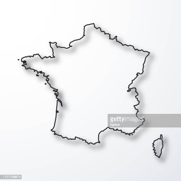 france map - black outline with shadow on white background - country geographic area stock illustrations