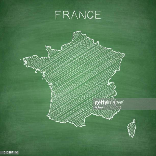 france map drawn on chalkboard - blackboard - france stock illustrations