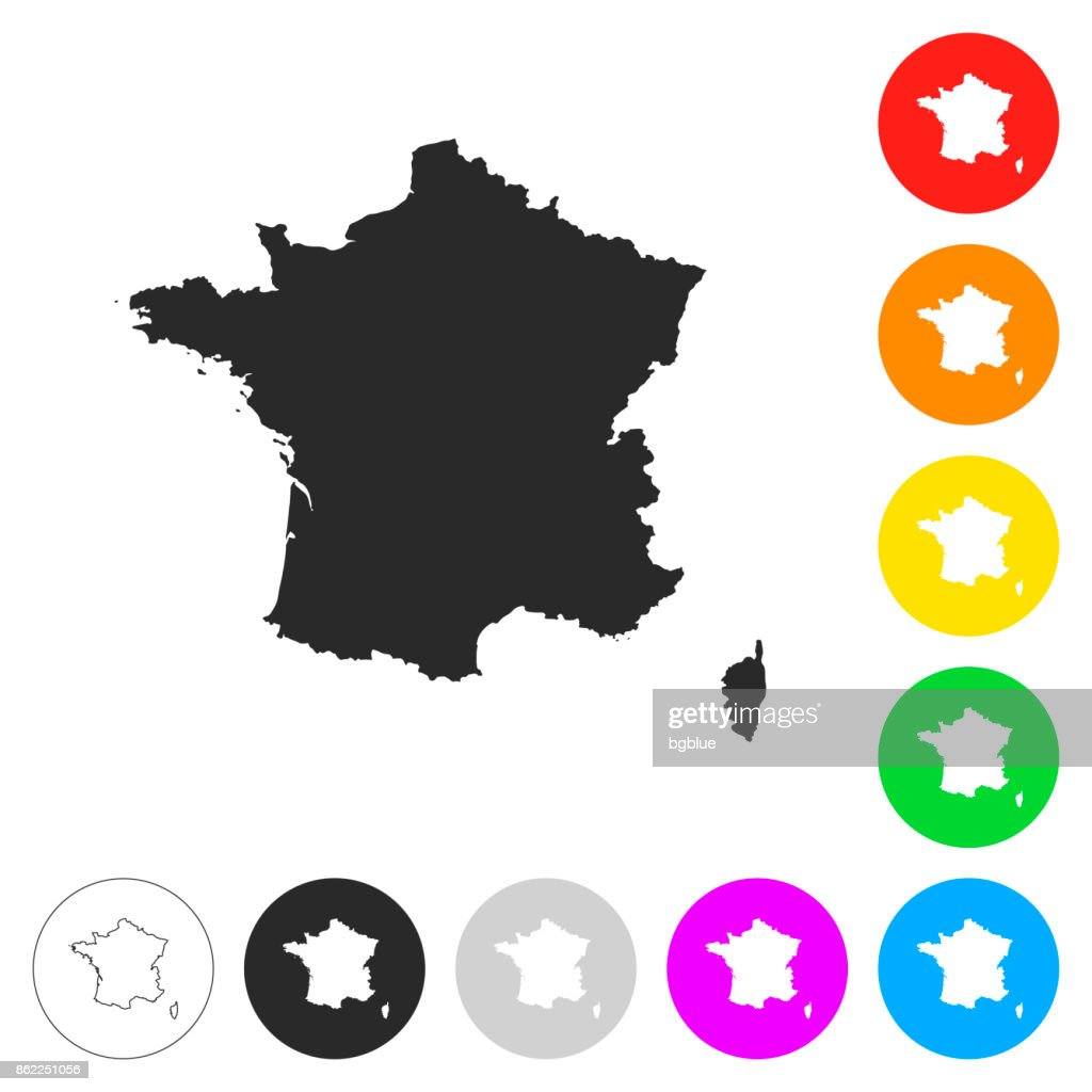 France map - Flat icons on different color buttons