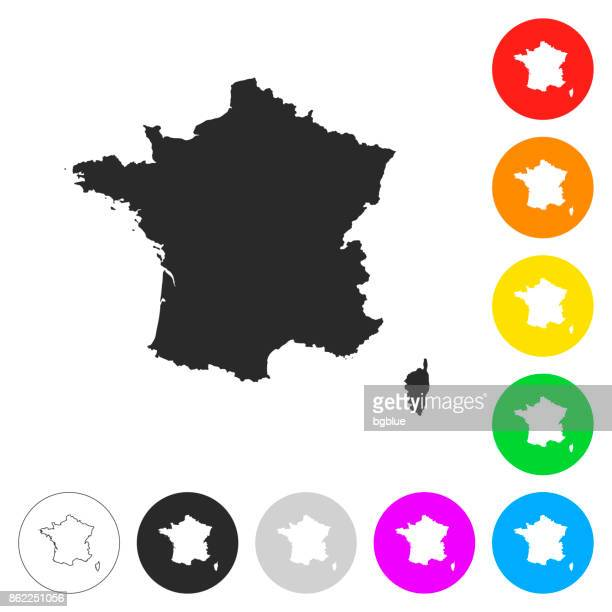 france map - flat icons on different color buttons - france stock illustrations