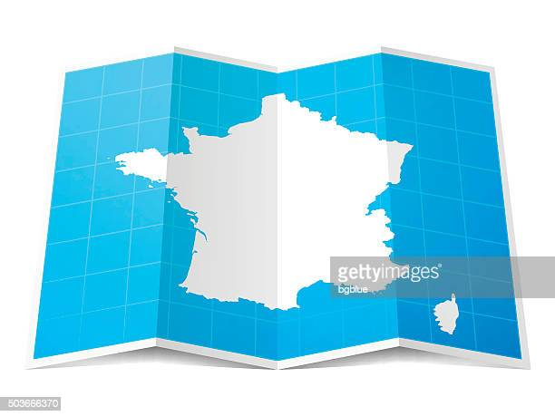 france map folded, isolated on white background - france stock illustrations