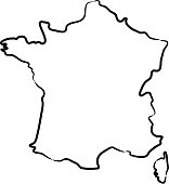 France map from the contour black brush lines on white background. Vector illustration.