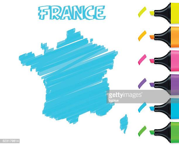 france map hand drawn on white background, blue highlighter - france stock illustrations