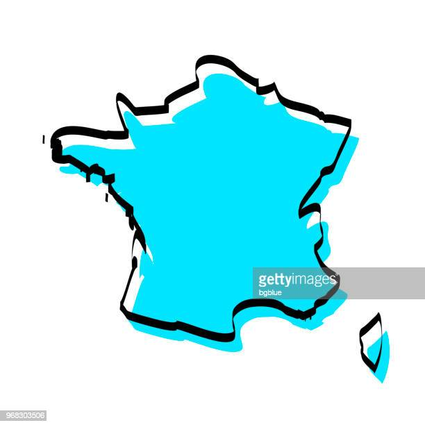 france map hand drawn on white background, trendy design - france stock illustrations