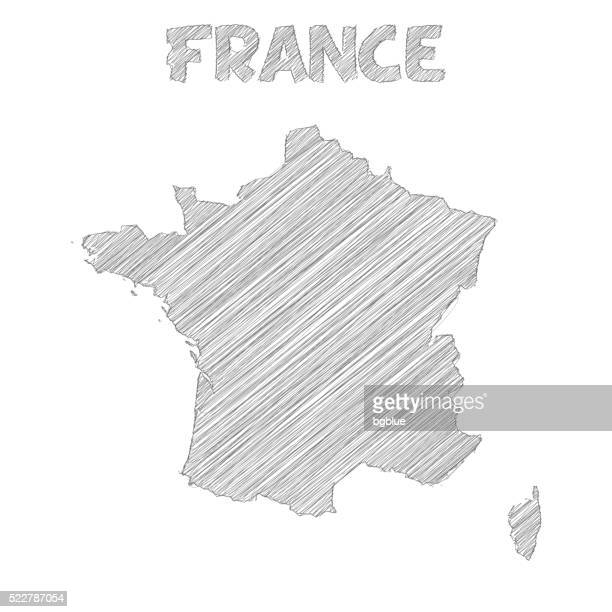 France map hand drawn on white background