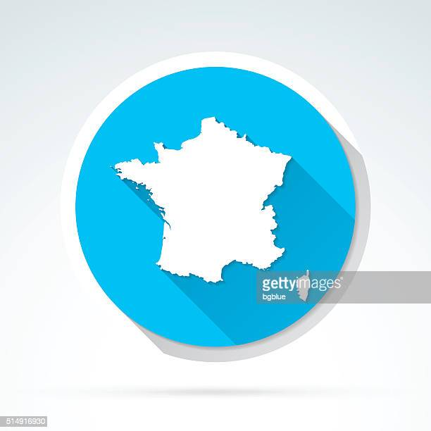 france map icon, flat design, long shadow - corsica stock illustrations, clip art, cartoons, & icons