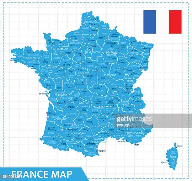 france map - illustration - bouches du rhone stock illustrations