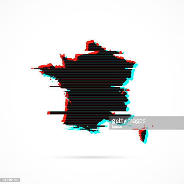 france map in distorted glitch style. modern trendy effect - corsica stock illustrations, clip art, cartoons, & icons
