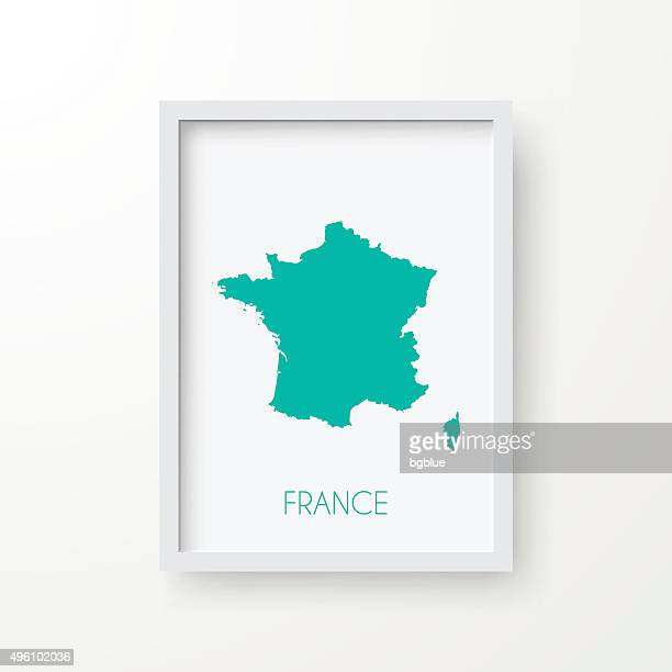 france map in frame on white background - corsica stock illustrations, clip art, cartoons, & icons