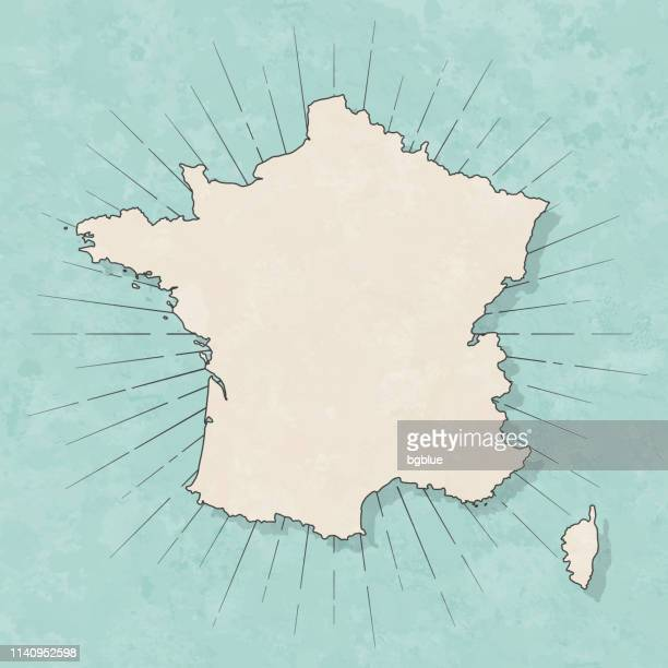 france map in retro vintage style - old textured paper - france stock illustrations