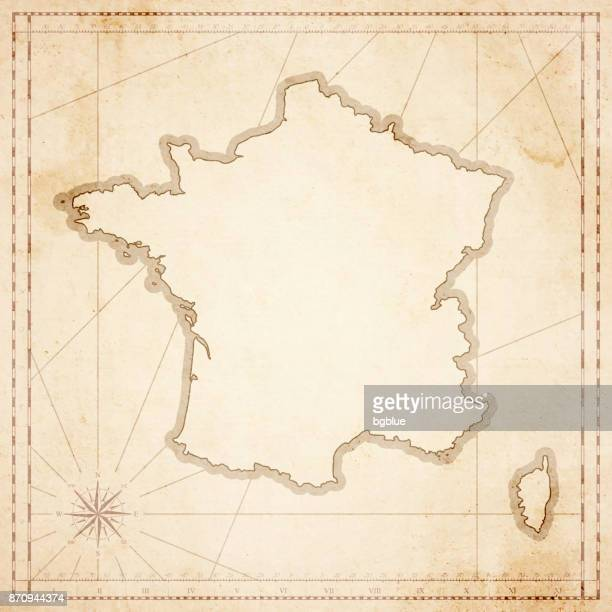 france map in retro vintage style - old textured paper - corsica stock illustrations, clip art, cartoons, & icons