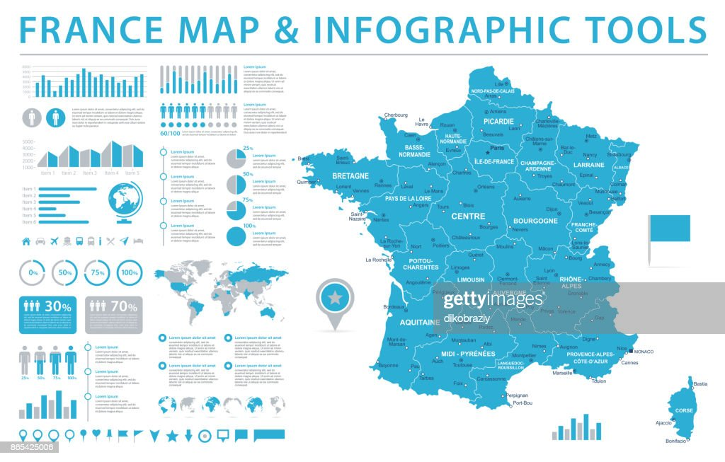 France Map - Info Graphic Vector Illustration