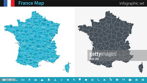 france map - infographic set - human settlement stock illustrations