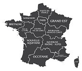 France Map labelled black