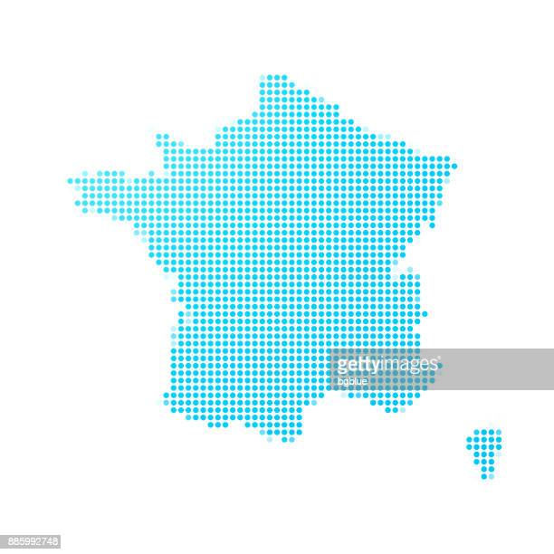france map of blue dots on white background - france stock illustrations