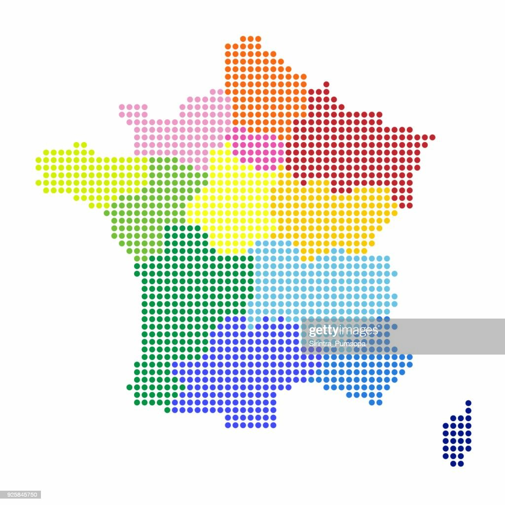 France Map of circle shape with the regions colorful in bright colors on white background. Vector illustration dotted style.