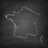 France Map on Blackboard - Chalkboard