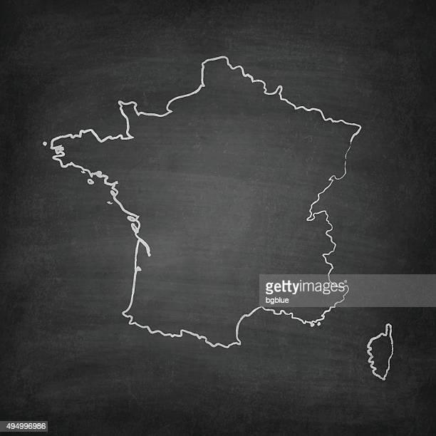 france map on blackboard - chalkboard - corsica stock illustrations, clip art, cartoons, & icons