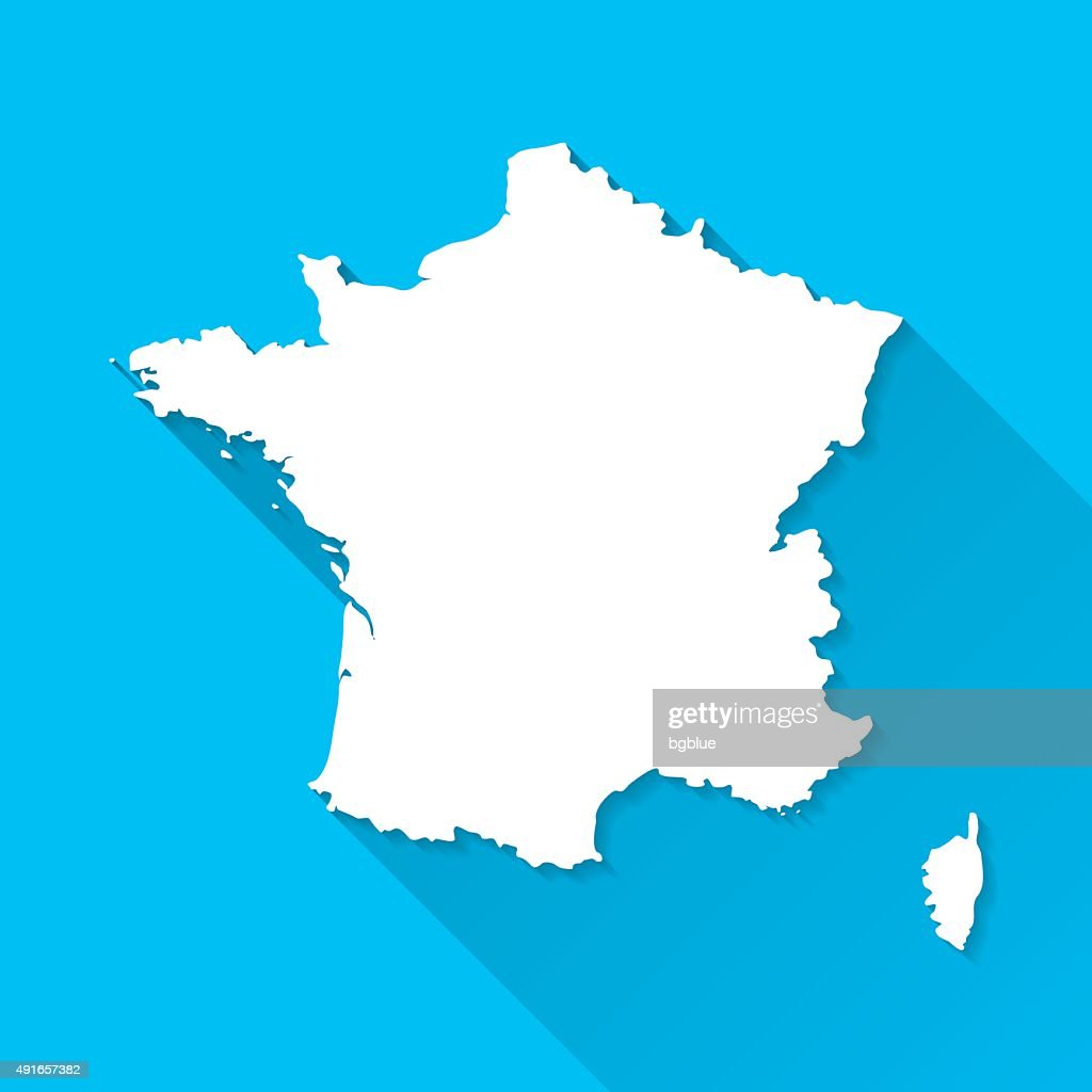 France Map on Blue Background, Long Shadow, Flat Design