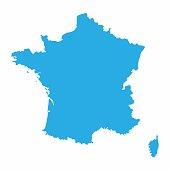 France map on blue background, Vector Illustration