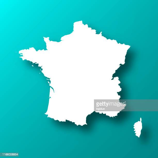 france map on blue green background with shadow - france stock illustrations