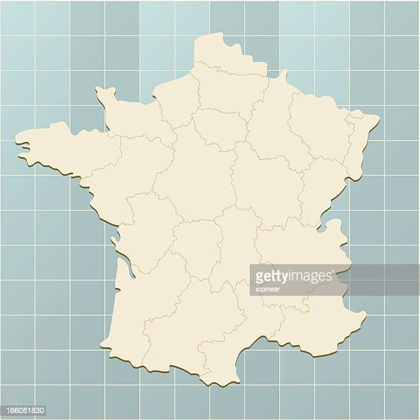 france map on grid - aquitaine stock illustrations, clip art, cartoons, & icons