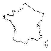 France map outline graphic freehand drawing on white background. Vector illustration