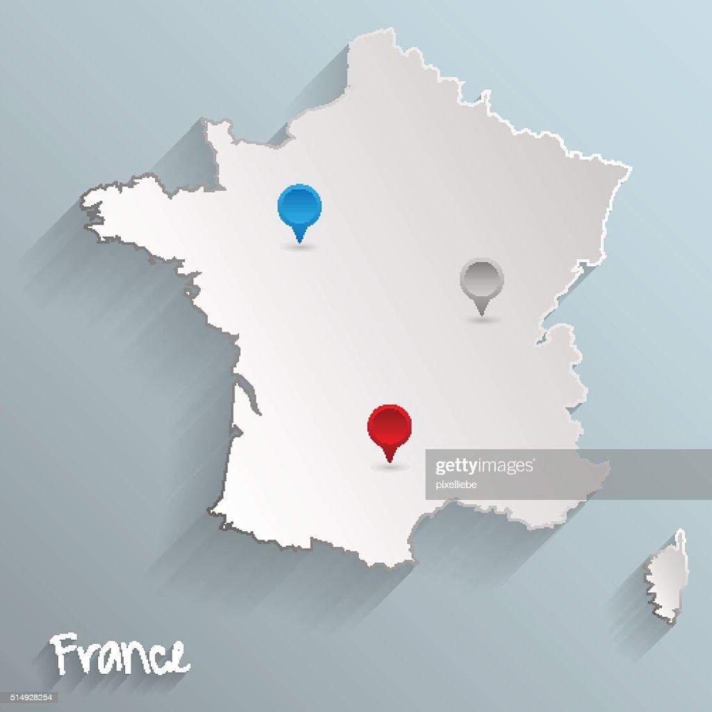 france map paper design 3d
