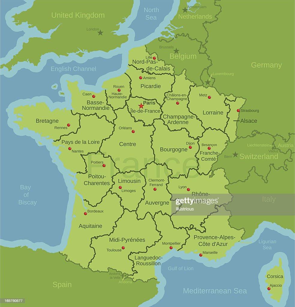 France Map showing Regions : stock illustration