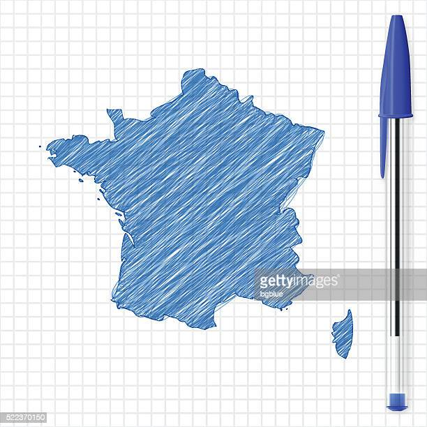 france map sketch on grid paper, blue pen - ballpoint pen stock illustrations, clip art, cartoons, & icons