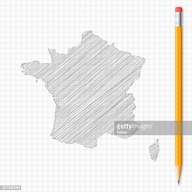 france map sketch with pencil on grid paper - corsica stock illustrations, clip art, cartoons, & icons
