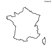 France Map Vector Stock Illustration Design Template. Editable Stroke.