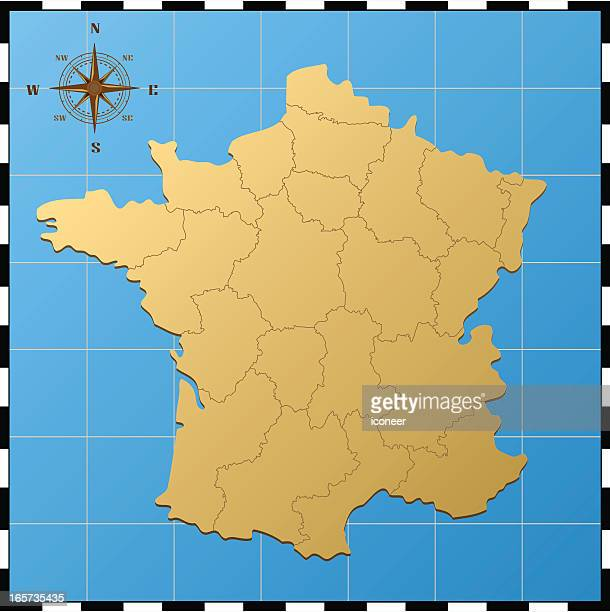 france map with compass rose - lorraine stock illustrations, clip art, cartoons, & icons