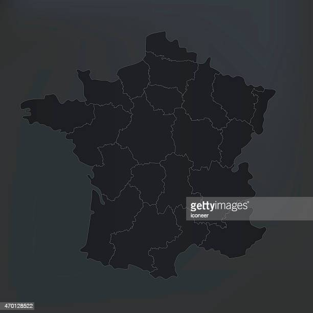 france map with countries on dark shady background - auvergne rhône alpes stock illustrations, clip art, cartoons, & icons