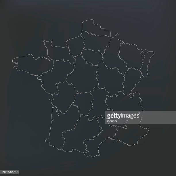 france map with countries on dark shady background - champagne region stock illustrations, clip art, cartoons, & icons