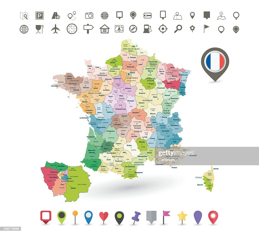 France map with flag and navigation icons