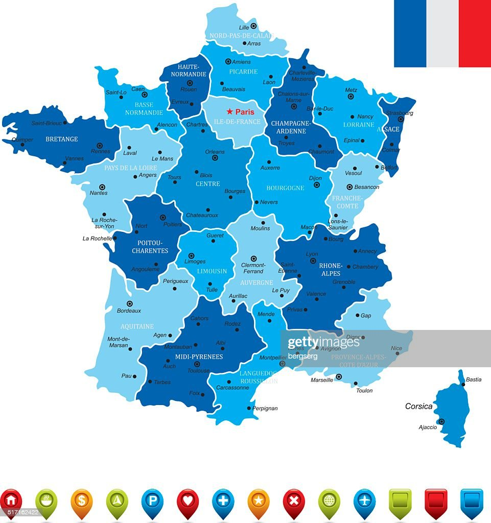 France Map With Flag Vector Art Getty Images