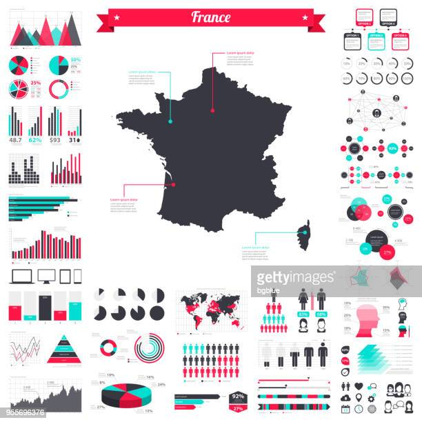 france map with infographic elements - big creative graphic set - france stock illustrations