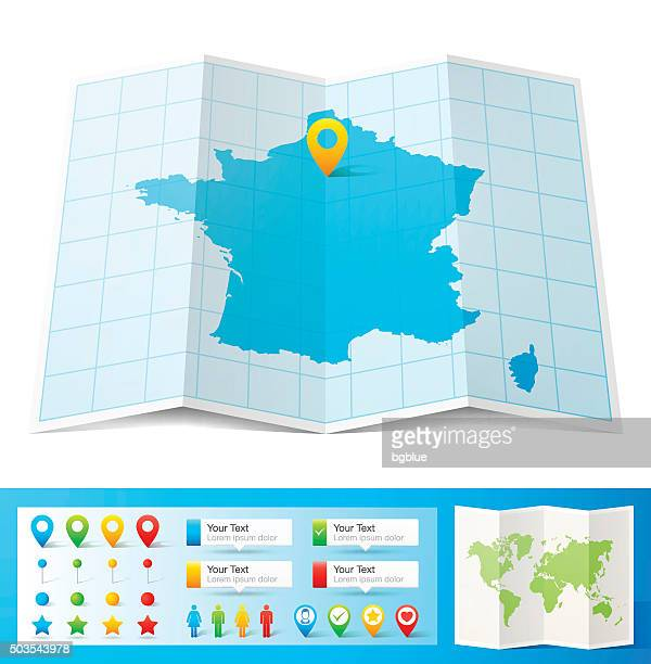 france map with location pins isolated on white background - france stock illustrations