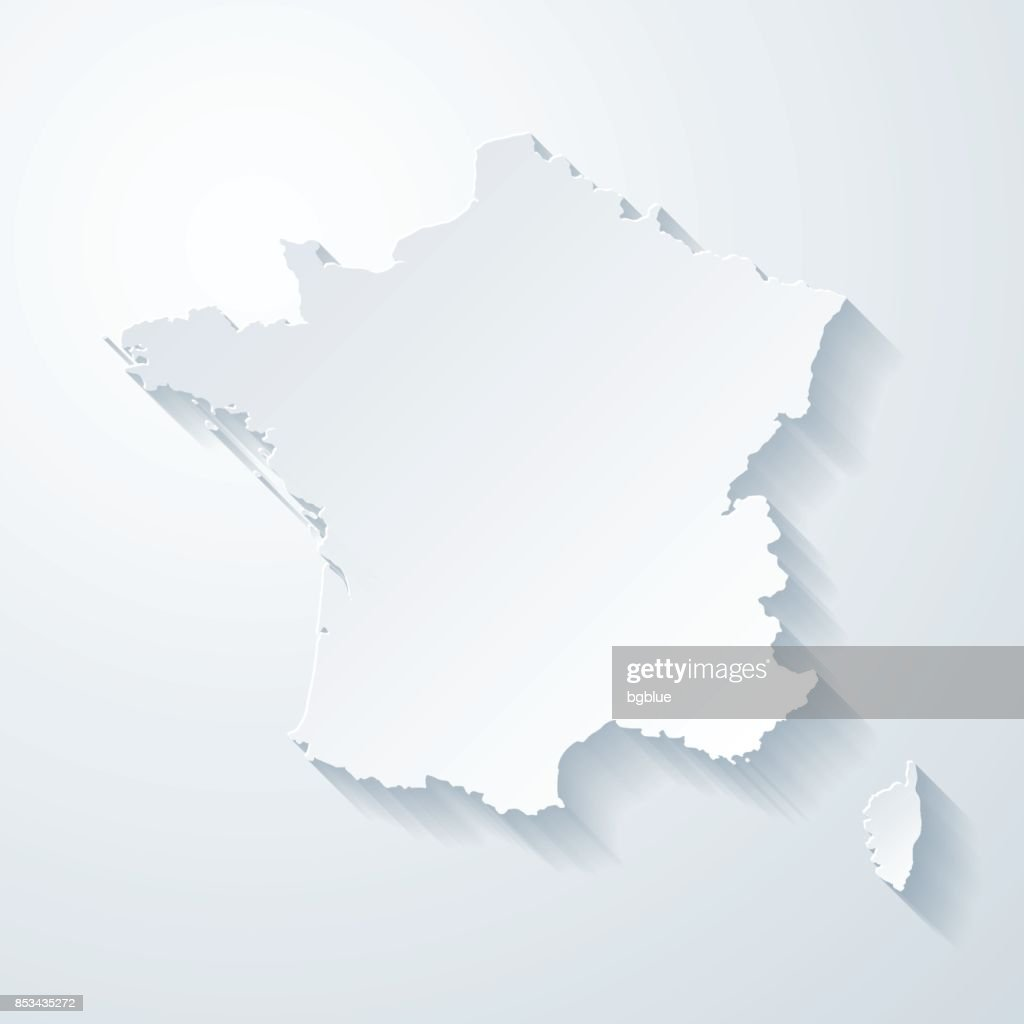 France map with paper cut effect on blank background