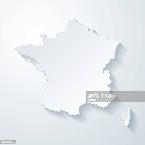 france map with paper cut effect on blank background - france stock illustrations