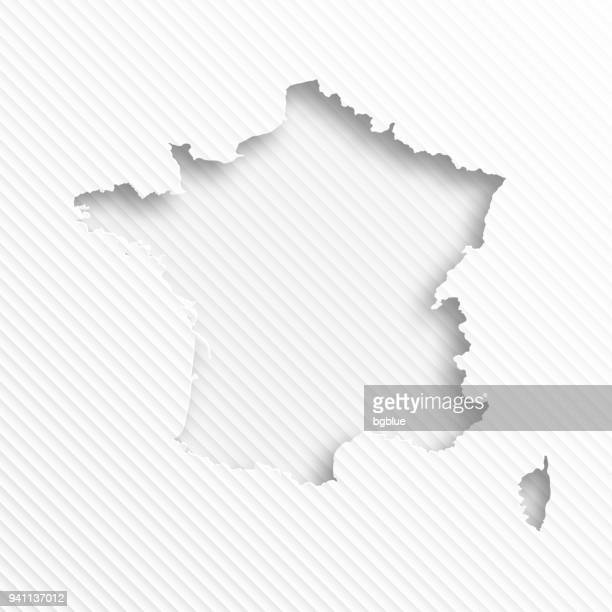france map with paper cut on abstract white background - corsica stock illustrations, clip art, cartoons, & icons