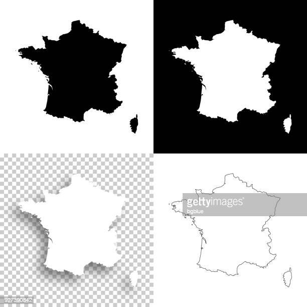 france maps for design - blank, white and black backgrounds - france stock illustrations